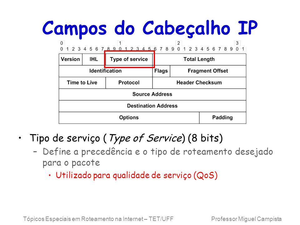 Tópicos Especiais em Roteamento na Internet – TET/UFF Professor Miguel Campista Campos do Cabeçalho IP Tipo de serviço (Type of Service) (8 bits) –Define a precedência e o tipo de roteamento desejado para o pacote Utilizado para qualidade de serviço (QoS)
