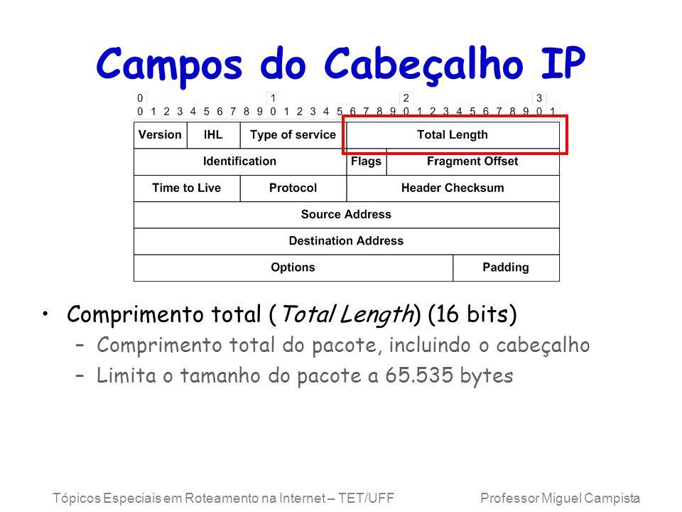 Tópicos Especiais em Roteamento na Internet – TET/UFF Professor Miguel Campista Campos do Cabeçalho IP Comprimento total (Total Length) (16 bits) –Com