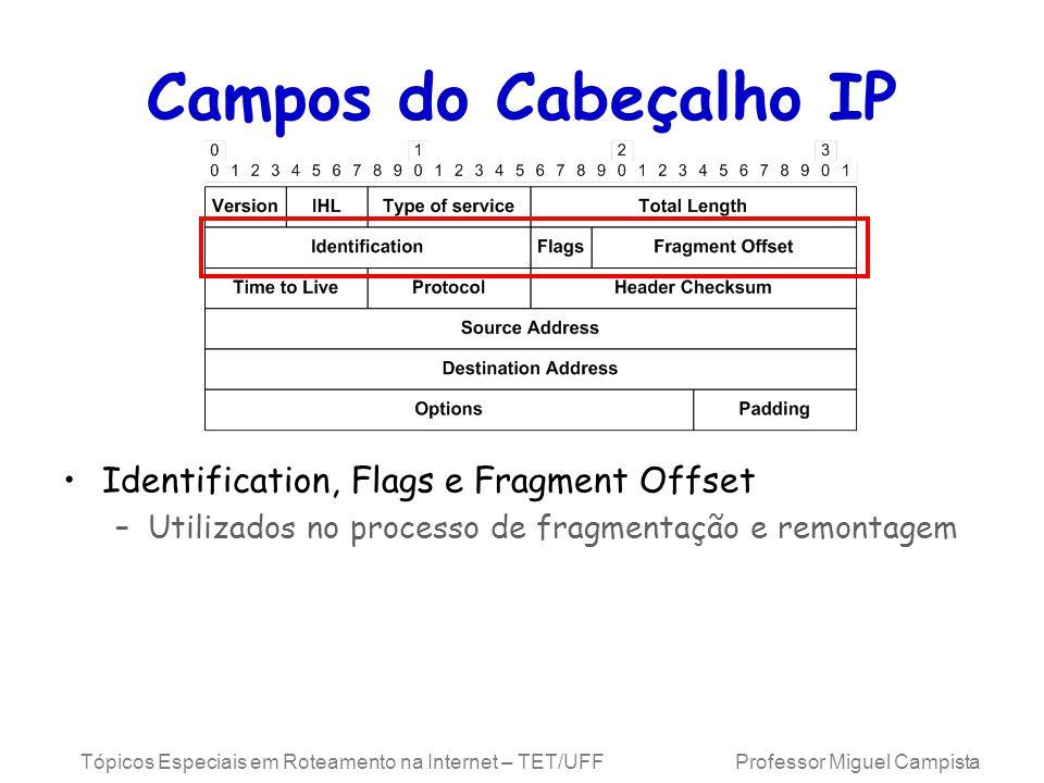 Tópicos Especiais em Roteamento na Internet – TET/UFF Professor Miguel Campista Campos do Cabeçalho IP Identification, Flags e Fragment Offset –Utilizados no processo de fragmentação e remontagem