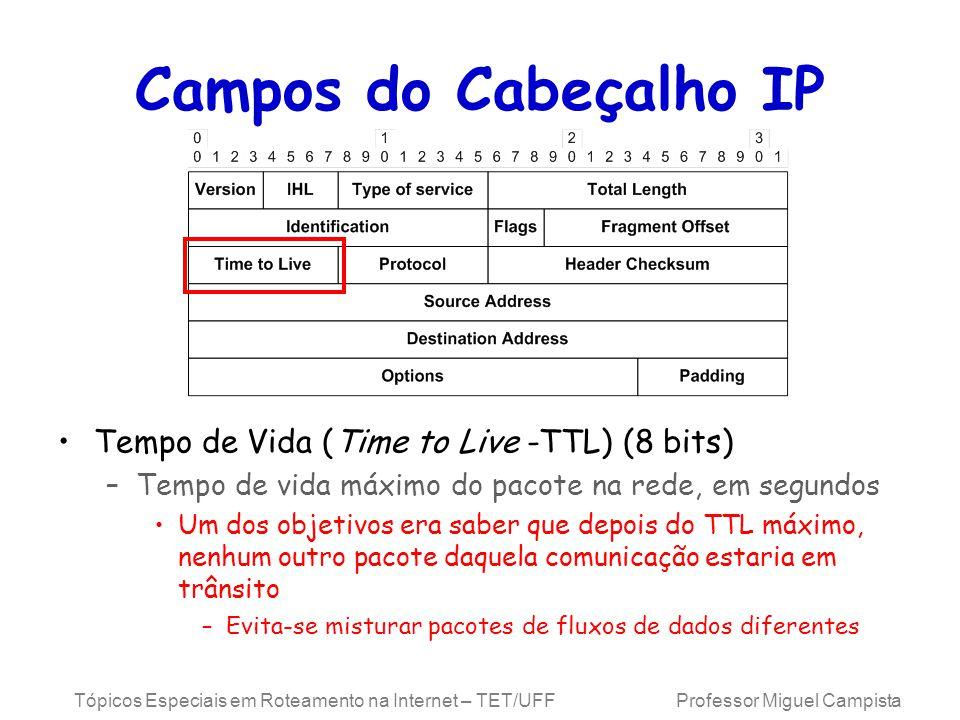 Tópicos Especiais em Roteamento na Internet – TET/UFF Professor Miguel Campista Campos do Cabeçalho IP Tempo de Vida (Time to Live -TTL) (8 bits) –Tempo de vida máximo do pacote na rede, em segundos Um dos objetivos era saber que depois do TTL máximo, nenhum outro pacote daquela comunicação estaria em trânsito –Evita-se misturar pacotes de fluxos de dados diferentes