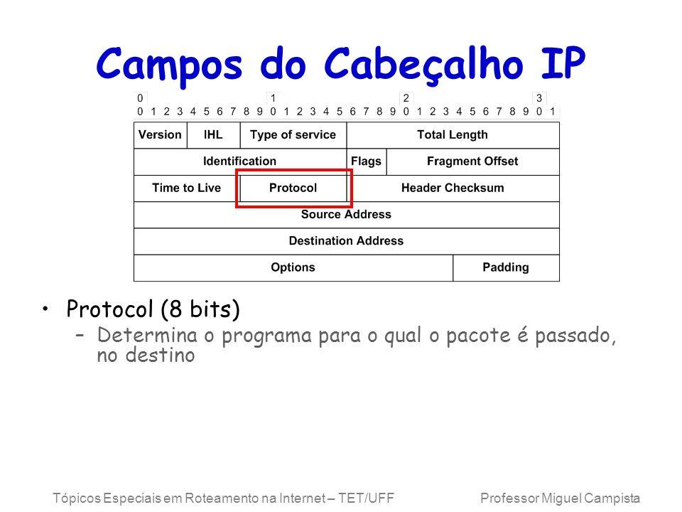 Tópicos Especiais em Roteamento na Internet – TET/UFF Professor Miguel Campista Campos do Cabeçalho IP Protocol (8 bits) –Determina o programa para o