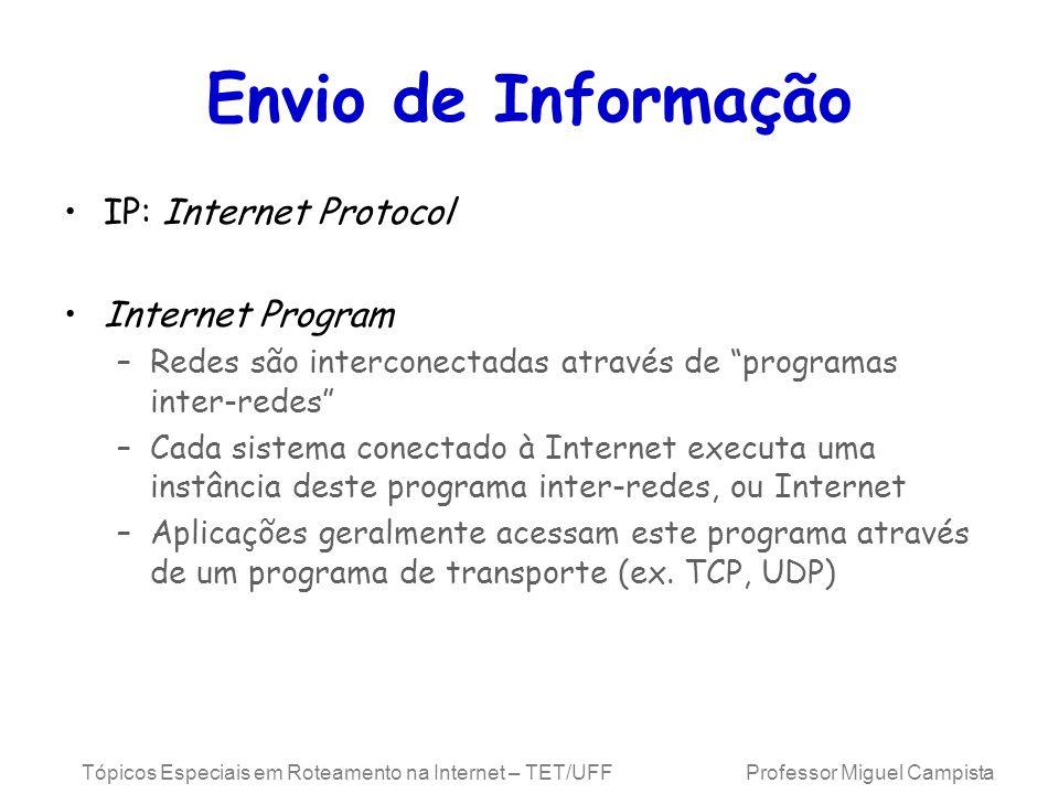 Tópicos Especiais em Roteamento na Internet – TET/UFF Professor Miguel Campista Endereços Especiais EndereçoSignificado 0.0.0.0 255.255.255.255 129.34.0.3 129.34.0.0 129.34.255.255 0.0.0.3 127.0.0.1 Alguma estação desconhecida (fonte) Qualquer estação (destino) Estação número 3 na rede classe B 129.34 Alguma estação na rede 129.34 (fonte) Qualquer estação na rede 129.34 (destino) Estação número 3 nesta rede Esta estação (loop local)