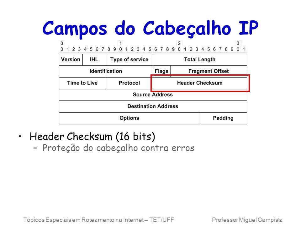 Tópicos Especiais em Roteamento na Internet – TET/UFF Professor Miguel Campista Campos do Cabeçalho IP Header Checksum (16 bits) –Proteção do cabeçalho contra erros