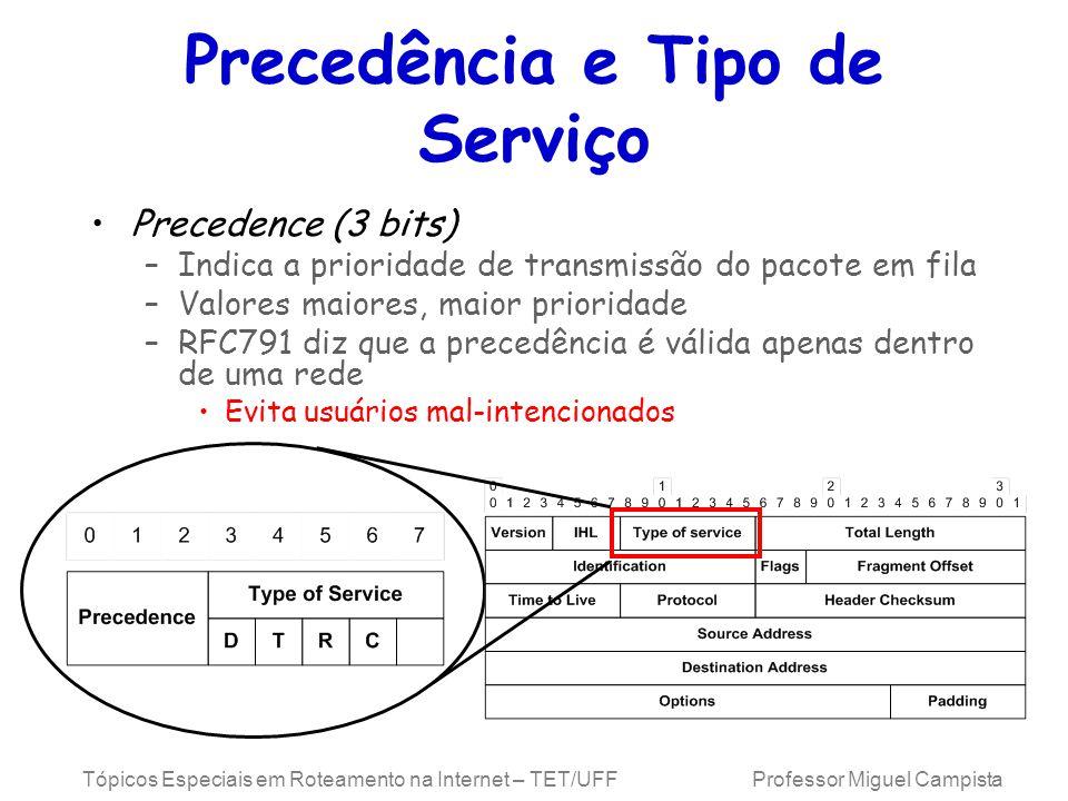 Tópicos Especiais em Roteamento na Internet – TET/UFF Professor Miguel Campista Precedência e Tipo de Serviço Precedence (3 bits) –Indica a prioridade de transmissão do pacote em fila –Valores maiores, maior prioridade –RFC791 diz que a precedência é válida apenas dentro de uma rede Evita usuários mal-intencionados
