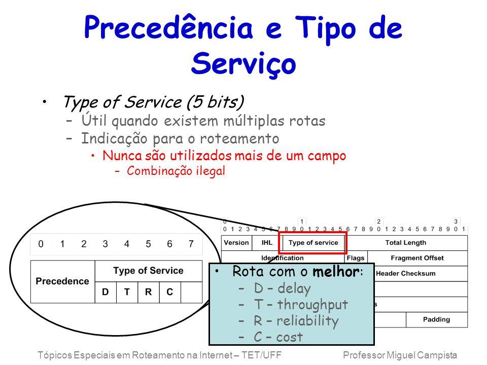 Tópicos Especiais em Roteamento na Internet – TET/UFF Professor Miguel Campista Precedência e Tipo de Serviço Type of Service (5 bits) –Útil quando ex