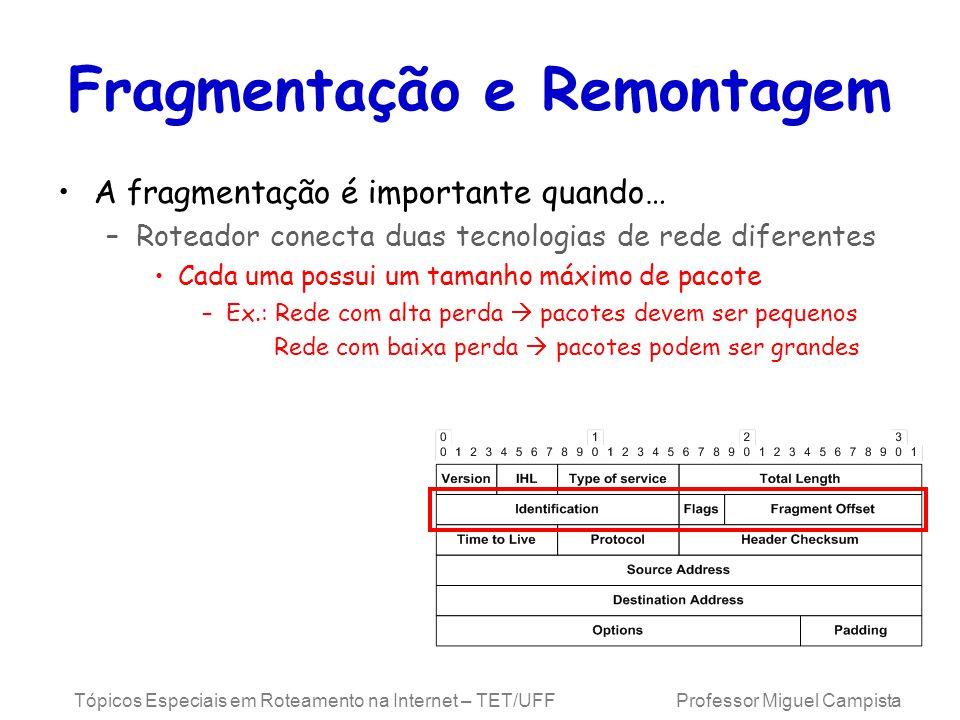 Tópicos Especiais em Roteamento na Internet – TET/UFF Professor Miguel Campista Fragmentação e Remontagem A fragmentação é importante quando… –Roteado