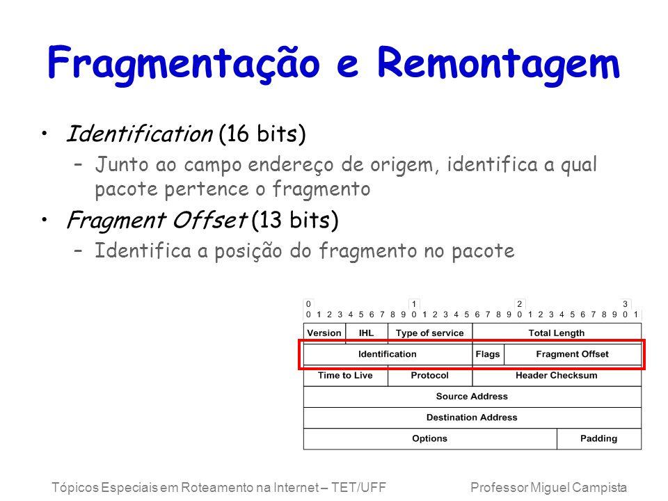 Tópicos Especiais em Roteamento na Internet – TET/UFF Professor Miguel Campista Fragmentação e Remontagem Identification (16 bits) –Junto ao campo endereço de origem, identifica a qual pacote pertence o fragmento Fragment Offset (13 bits) –Identifica a posição do fragmento no pacote