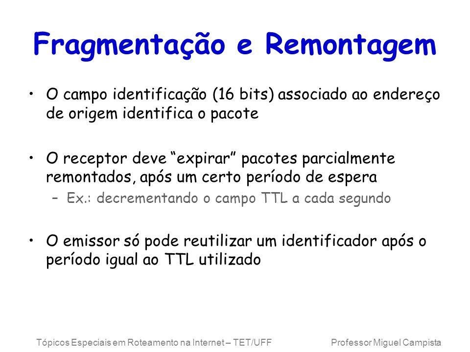 Tópicos Especiais em Roteamento na Internet – TET/UFF Professor Miguel Campista Fragmentação e Remontagem O campo identificação (16 bits) associado ao endereço de origem identifica o pacote O receptor deve expirar pacotes parcialmente remontados, após um certo período de espera –Ex.: decrementando o campo TTL a cada segundo O emissor só pode reutilizar um identificador após o período igual ao TTL utilizado