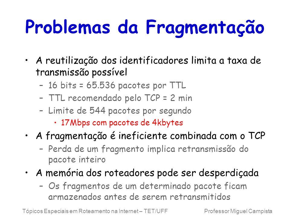 Tópicos Especiais em Roteamento na Internet – TET/UFF Professor Miguel Campista Problemas da Fragmentação A reutilização dos identificadores limita a taxa de transmissão possível –16 bits = 65.536 pacotes por TTL –TTL recomendado pelo TCP = 2 min –Limite de 544 pacotes por segundo 17Mbps com pacotes de 4kbytes A fragmentação é ineficiente combinada com o TCP –Perda de um fragmento implica retransmissão do pacote inteiro A memória dos roteadores pode ser desperdiçada –Os fragmentos de um determinado pacote ficam armazenados antes de serem retransmitidos