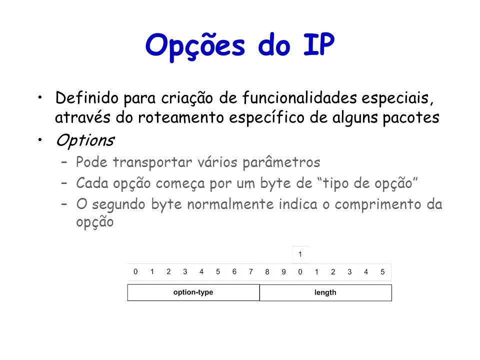 Tópicos Especiais em Roteamento na Internet – TET/UFF Professor Miguel Campista Opções do IP Definido para criação de funcionalidades especiais, através do roteamento específico de alguns pacotes Options –Pode transportar vários parâmetros –Cada opção começa por um byte de tipo de opção –O segundo byte normalmente indica o comprimento da opção
