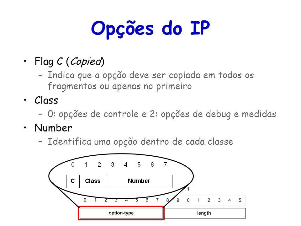 Tópicos Especiais em Roteamento na Internet – TET/UFF Professor Miguel Campista Opções do IP Flag C (Copied) –Indica que a opção deve ser copiada em t