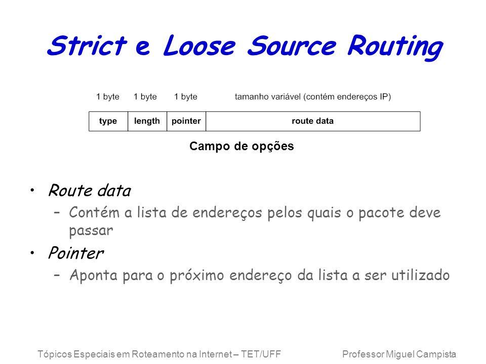 Tópicos Especiais em Roteamento na Internet – TET/UFF Professor Miguel Campista Strict e Loose Source Routing Route data –Contém a lista de endereços
