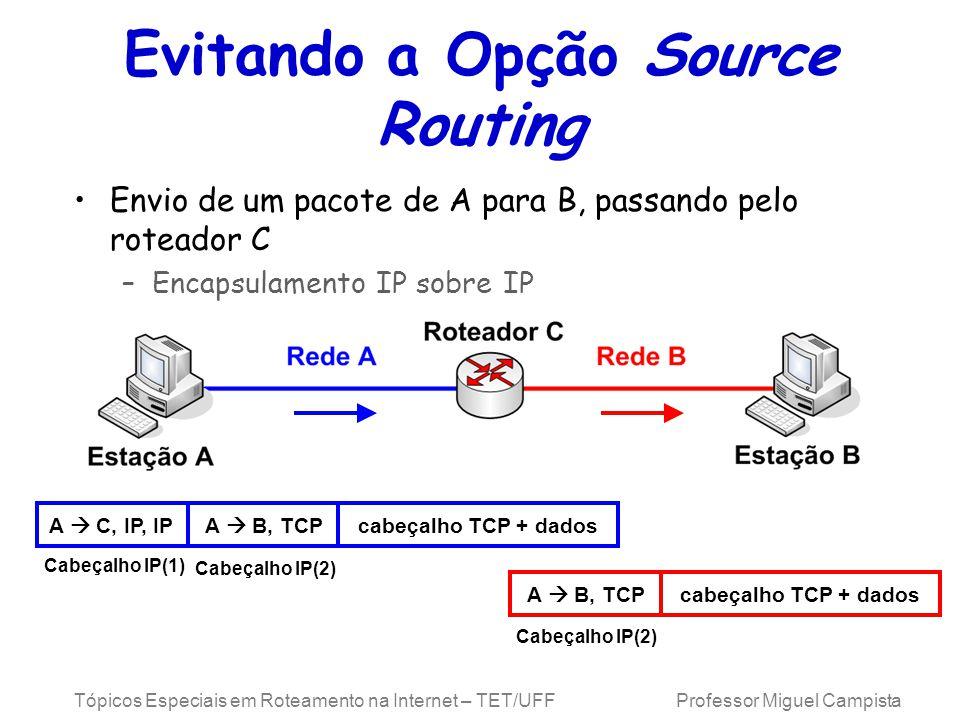 Tópicos Especiais em Roteamento na Internet – TET/UFF Professor Miguel Campista Evitando a Opção Source Routing Envio de um pacote de A para B, passando pelo roteador C –Encapsulamento IP sobre IP A B, TCPcabeçalho TCP + dados A C, IP, IPA B, TCPcabeçalho TCP + dados Cabeçalho IP(1) Cabeçalho IP(2)