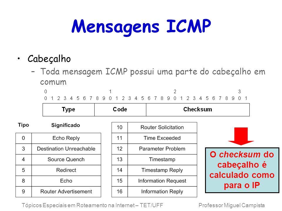 Tópicos Especiais em Roteamento na Internet – TET/UFF Professor Miguel Campista Mensagens ICMP Cabeçalho –Toda mensagem ICMP possui uma parte do cabeçalho em comum O checksum do cabeçalho é calculado como para o IP