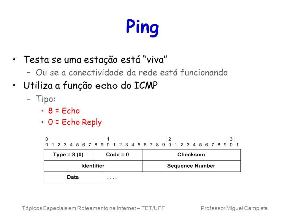 Tópicos Especiais em Roteamento na Internet – TET/UFF Professor Miguel Campista Ping Testa se uma estação está viva –Ou se a conectividade da rede está funcionando Utiliza a função echo do ICMP –Tipo: 8 = Echo 0 = Echo Reply