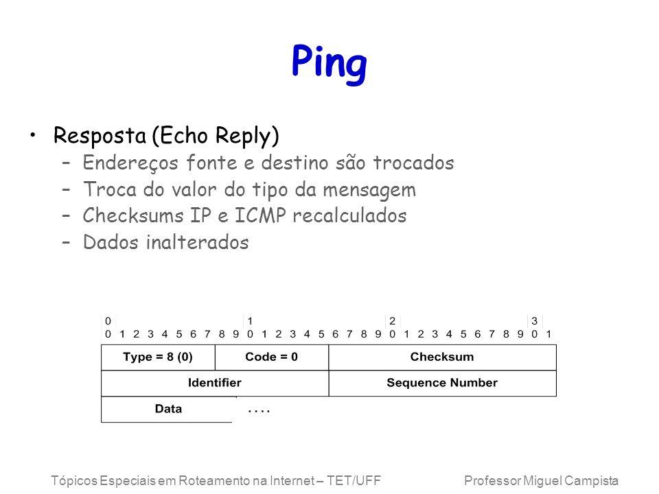 Tópicos Especiais em Roteamento na Internet – TET/UFF Professor Miguel Campista Ping Resposta (Echo Reply) –Endereços fonte e destino são trocados –Troca do valor do tipo da mensagem –Checksums IP e ICMP recalculados –Dados inalterados
