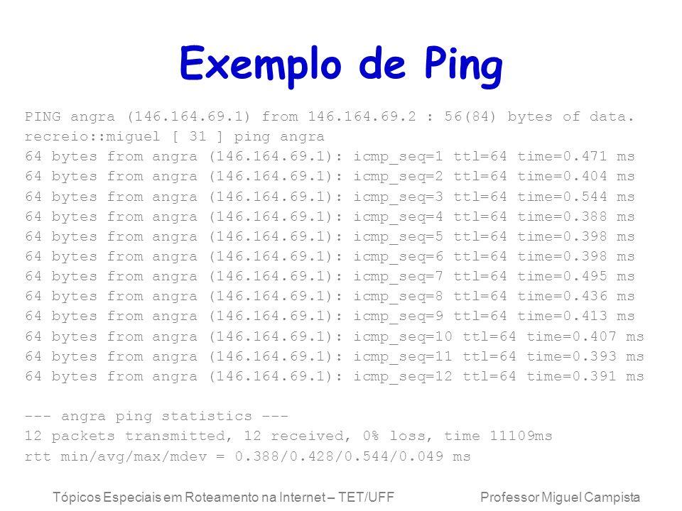 Tópicos Especiais em Roteamento na Internet – TET/UFF Professor Miguel Campista Exemplo de Ping PING angra (146.164.69.1) from 146.164.69.2 : 56(84) bytes of data.