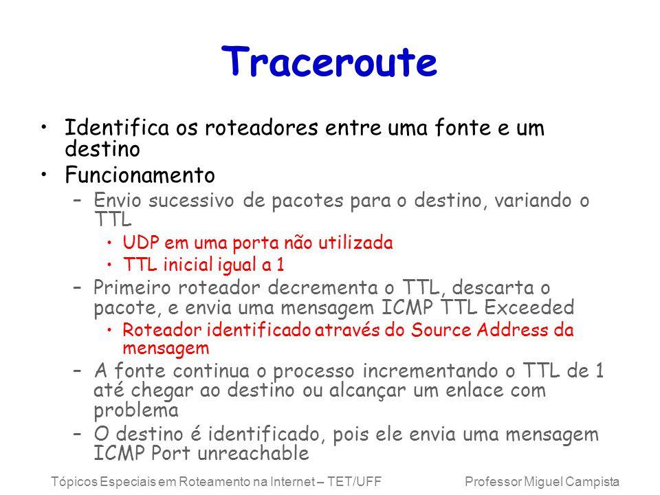 Tópicos Especiais em Roteamento na Internet – TET/UFF Professor Miguel Campista Traceroute Identifica os roteadores entre uma fonte e um destino Funcionamento –Envio sucessivo de pacotes para o destino, variando o TTL UDP em uma porta não utilizada TTL inicial igual a 1 –Primeiro roteador decrementa o TTL, descarta o pacote, e envia uma mensagem ICMP TTL Exceeded Roteador identificado através do Source Address da mensagem –A fonte continua o processo incrementando o TTL de 1 até chegar ao destino ou alcançar um enlace com problema –O destino é identificado, pois ele envia uma mensagem ICMP Port unreachable