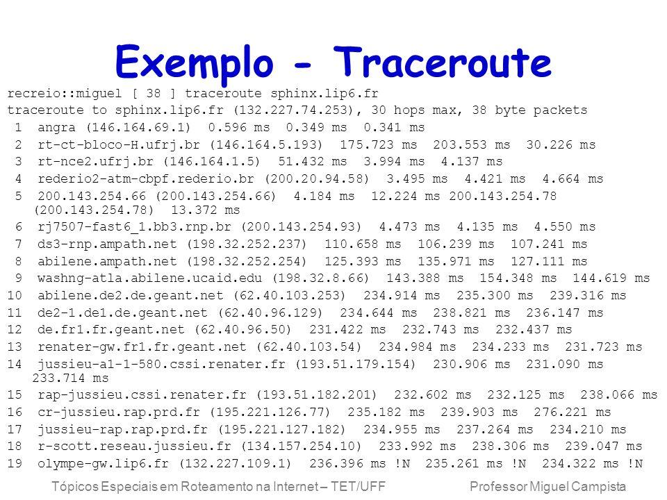 Tópicos Especiais em Roteamento na Internet – TET/UFF Professor Miguel Campista Exemplo - Traceroute recreio::miguel [ 38 ] traceroute sphinx.lip6.fr