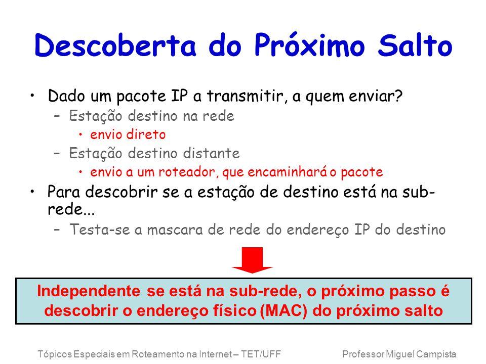 Tópicos Especiais em Roteamento na Internet – TET/UFF Professor Miguel Campista Descoberta do Próximo Salto Dado um pacote IP a transmitir, a quem enviar.