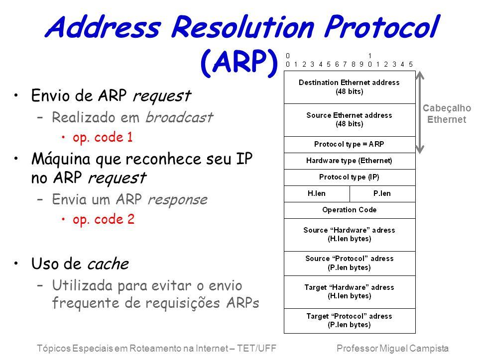Tópicos Especiais em Roteamento na Internet – TET/UFF Professor Miguel Campista Address Resolution Protocol (ARP) Envio de ARP request –Realizado em b