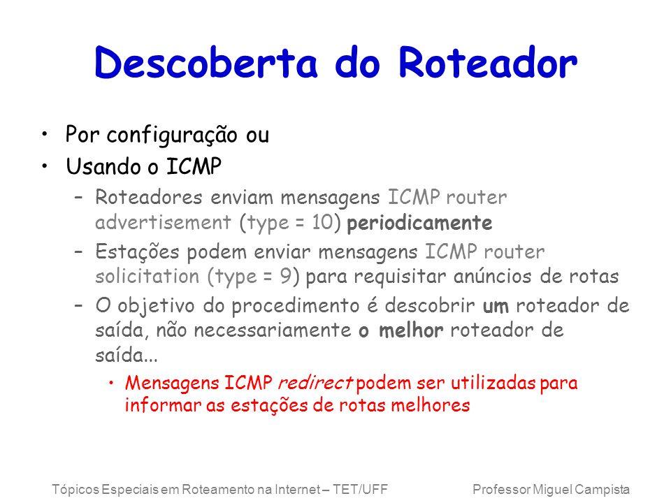 Tópicos Especiais em Roteamento na Internet – TET/UFF Professor Miguel Campista Descoberta do Roteador Por configuração ou Usando o ICMP –Roteadores enviam mensagens ICMP router advertisement (type = 10) periodicamente –Estações podem enviar mensagens ICMP router solicitation (type = 9) para requisitar anúncios de rotas –O objetivo do procedimento é descobrir um roteador de saída, não necessariamente o melhor roteador de saída...