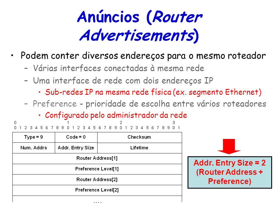 Tópicos Especiais em Roteamento na Internet – TET/UFF Professor Miguel Campista Anúncios (Router Advertisements) Podem conter diversos endereços para