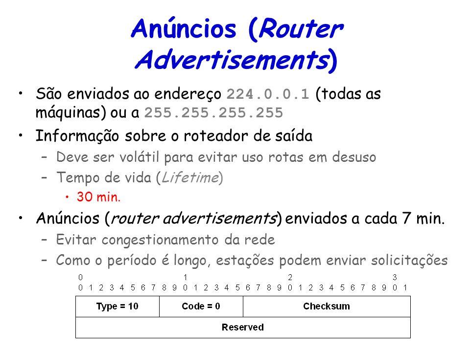 Tópicos Especiais em Roteamento na Internet – TET/UFF Professor Miguel Campista Anúncios (Router Advertisements) São enviados ao endereço 224.0.0.1 (t