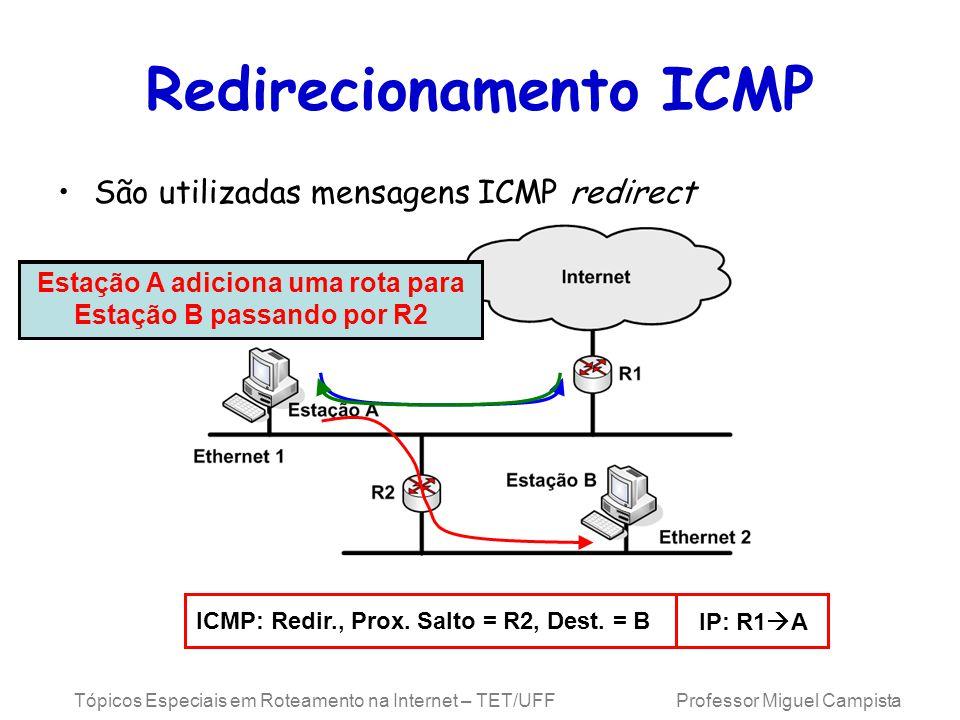 Tópicos Especiais em Roteamento na Internet – TET/UFF Professor Miguel Campista Redirecionamento ICMP São utilizadas mensagens ICMP redirect Estação A envia o primeiro pacote para R1 para chegar na Estação B R1 envia uma mensagem ICMP redirect para a Estação A ICMP: Redir., Prox.
