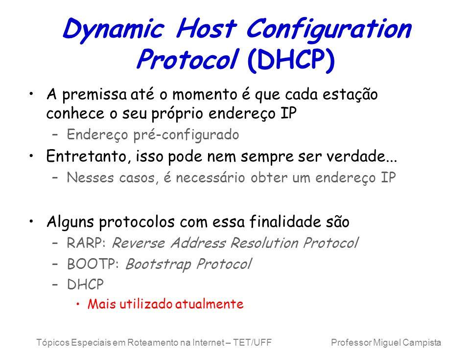 Tópicos Especiais em Roteamento na Internet – TET/UFF Professor Miguel Campista Dynamic Host Configuration Protocol (DHCP) A premissa até o momento é