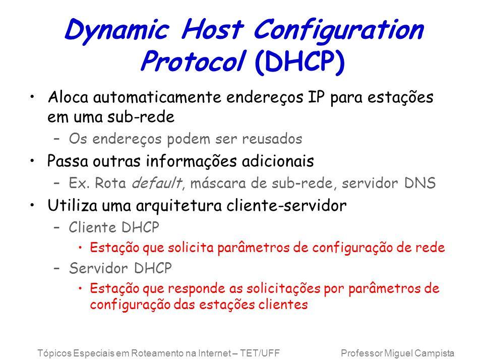 Tópicos Especiais em Roteamento na Internet – TET/UFF Professor Miguel Campista Dynamic Host Configuration Protocol (DHCP) Aloca automaticamente ender