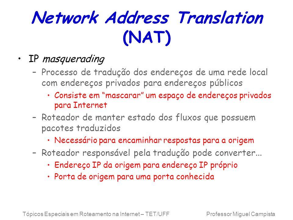 Tópicos Especiais em Roteamento na Internet – TET/UFF Professor Miguel Campista Network Address Translation (NAT) IP masquerading –Processo de traduçã