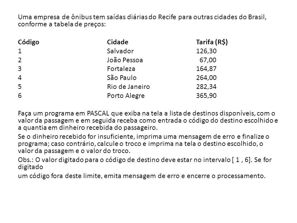 Uma empresa de ônibus tem saídas diárias do Recife para outras cidades do Brasil, conforme a tabela de preços: Código Cidade Tarifa (R$) 1 Salvador 12