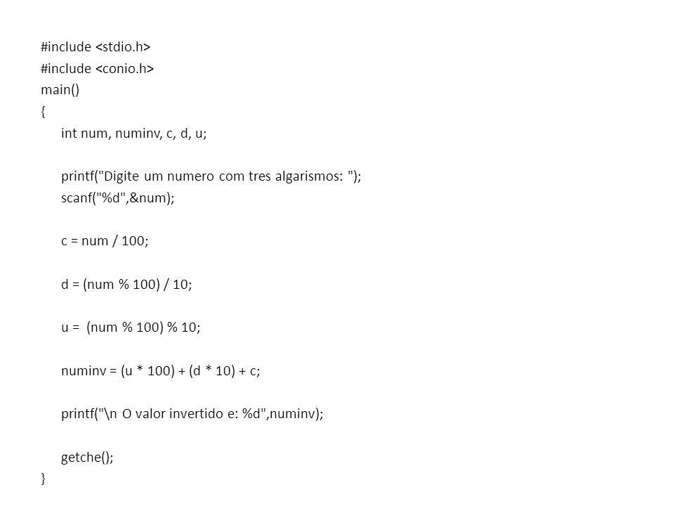 #include main() { int num, numinv, c, d, u; printf(
