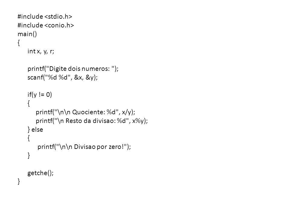 #include main() { int a, b, c, d, npar, nimp, soma; nimp = npar = 0; soma = 0; printf( Digite quatro numeros inteiros: ); scanf( %d %d %d %d , &a, &b, &c, &d); if (a%2==0) { soma += a; npar++; } else nimp++; if (b%2==0) { soma += b; npar++; } else nimp++; if (c%2==0) { soma += c; npar++; } else nimp++; if (d%2==0) { soma += d; npar++; } else nimp++; printf( \n\n Resultado: \n Numeros par: %d \n Numeros impares: %d \n Soma: %d , npar, nimp, soma); getche(); }