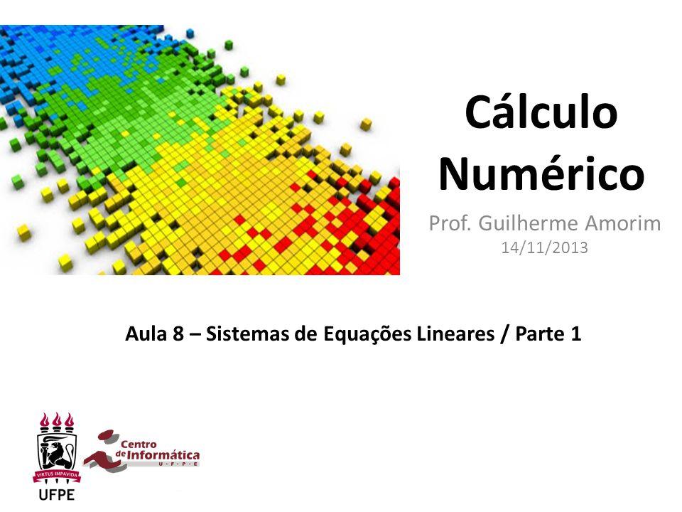 Cálculo Numérico Prof. Guilherme Amorim 14/11/2013 Aula 8 – Sistemas de Equações Lineares / Parte 1