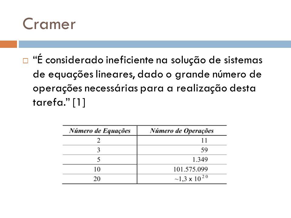 Cramer É considerado ineficiente na solução de sistemas de equações lineares, dado o grande número de operações necessárias para a realização desta ta