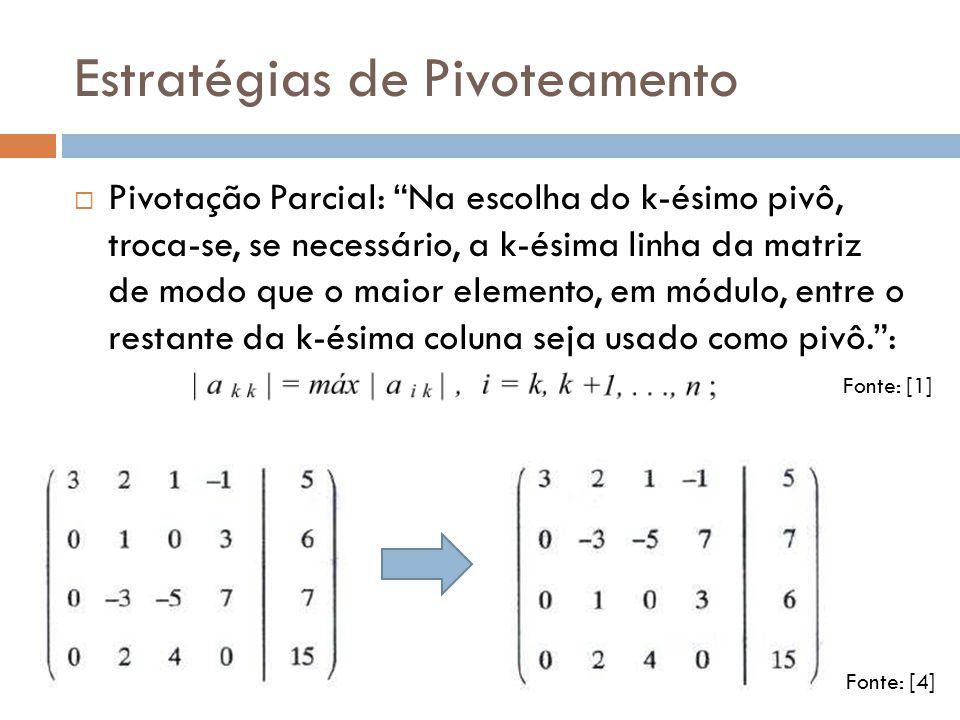 Estratégias de Pivoteamento Pivotação Parcial: Na escolha do k-ésimo pivô, troca-se, se necessário, a k-ésima linha da matriz de modo que o maior elem