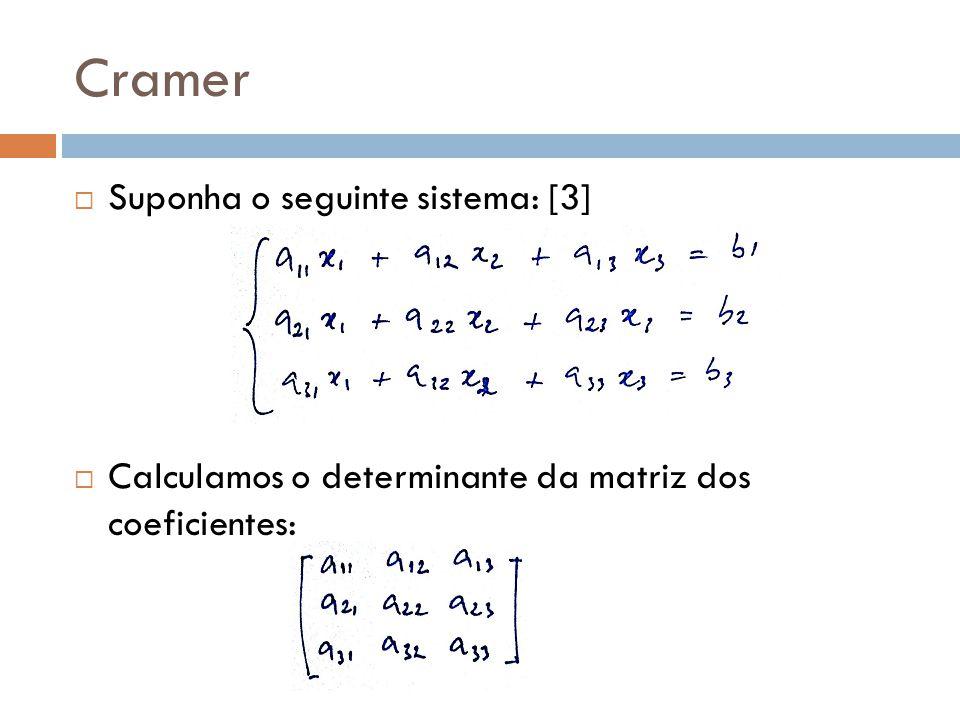 Cramer Suponha o seguinte sistema: [3] Calculamos o determinante da matriz dos coeficientes: