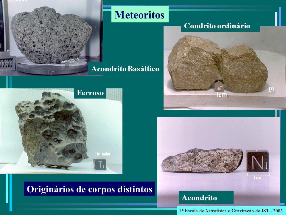 Acondrito Basáltico Condrito ordinário Ferroso Acondrito Originários de corpos distintos Meteoritos 1 a Escola de Astrofísica e Gravitação do IST - 20