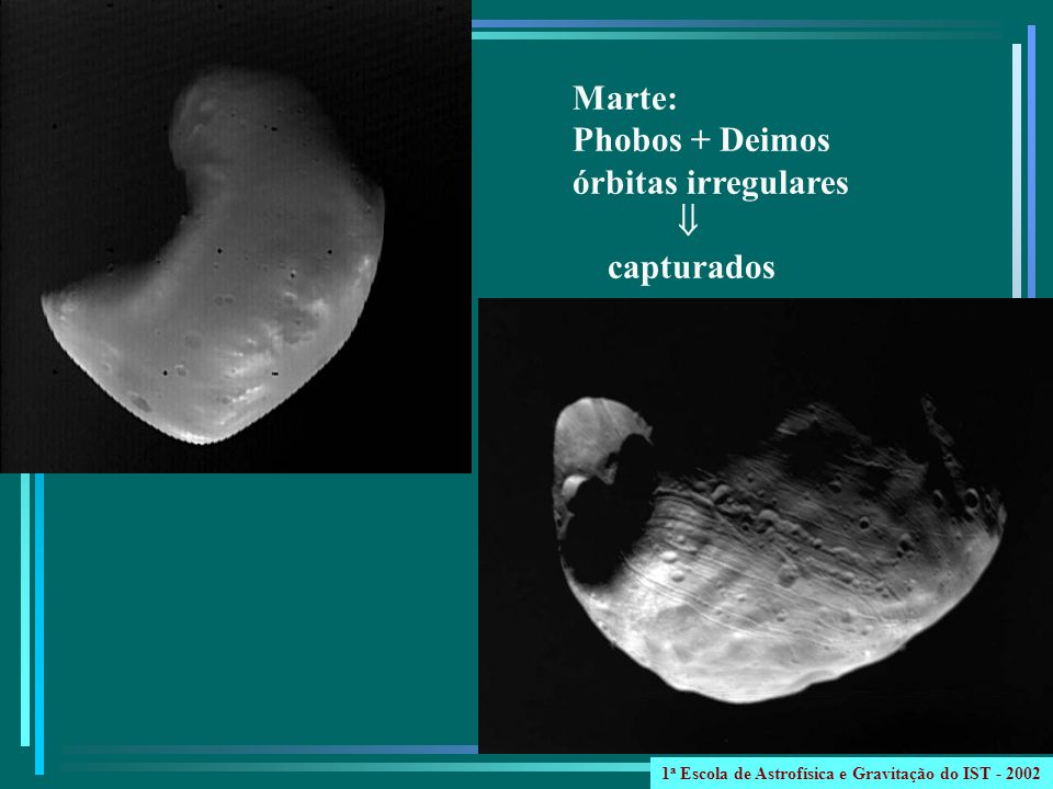 Marte: Phobos + Deimos órbitas irregulares capturados 1 a Escola de Astrofísica e Gravitação do IST - 2002