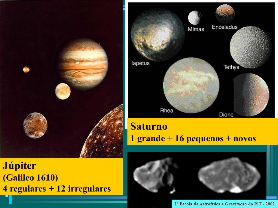 Júpiter (Galileo 1610) 4 regulares + 12 irregulares Saturno 1 grande + 16 pequenos + novos 1 a Escola de Astrofísica e Gravitação do IST - 2002