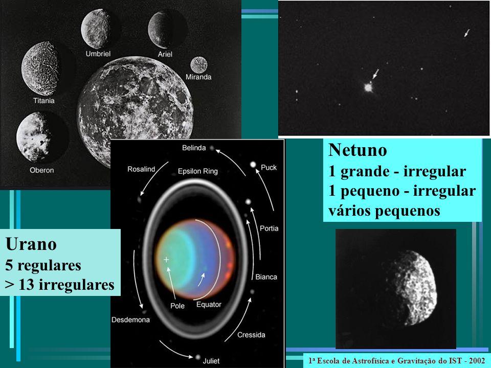 Urano 5 regulares > 13 irregulares Netuno 1 grande - irregular 1 pequeno - irregular vários pequenos 1 a Escola de Astrofísica e Gravitação do IST - 2