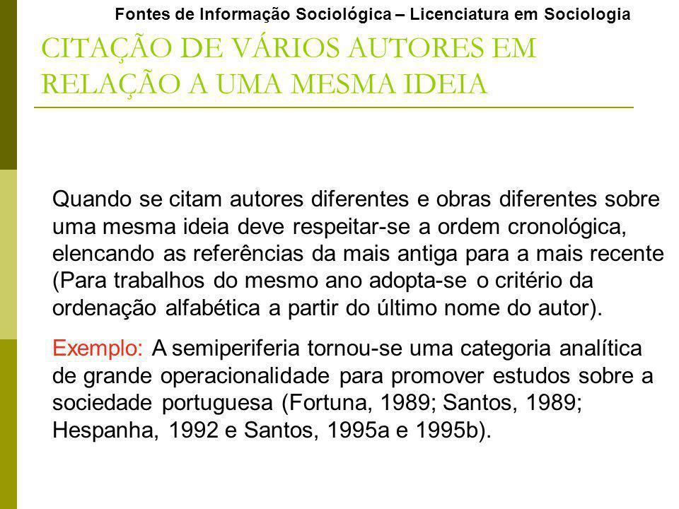 Fontes de Informação Sociológica – Licenciatura em Sociologia CITAÇÃO DE VÁRIOS AUTORES EM RELAÇÃO A UMA MESMA IDEIA Quando se citam autores diferente