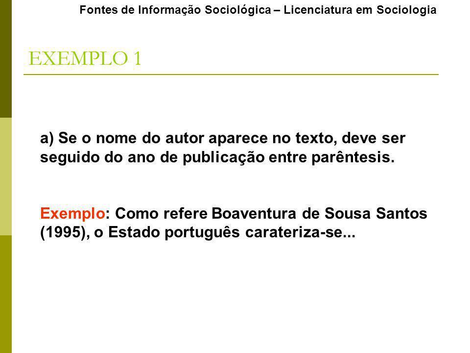 EXEMPLO 1 a) Se o nome do autor aparece no texto, deve ser seguido do ano de publicação entre parêntesis. Exemplo: Como refere Boaventura de Sousa San