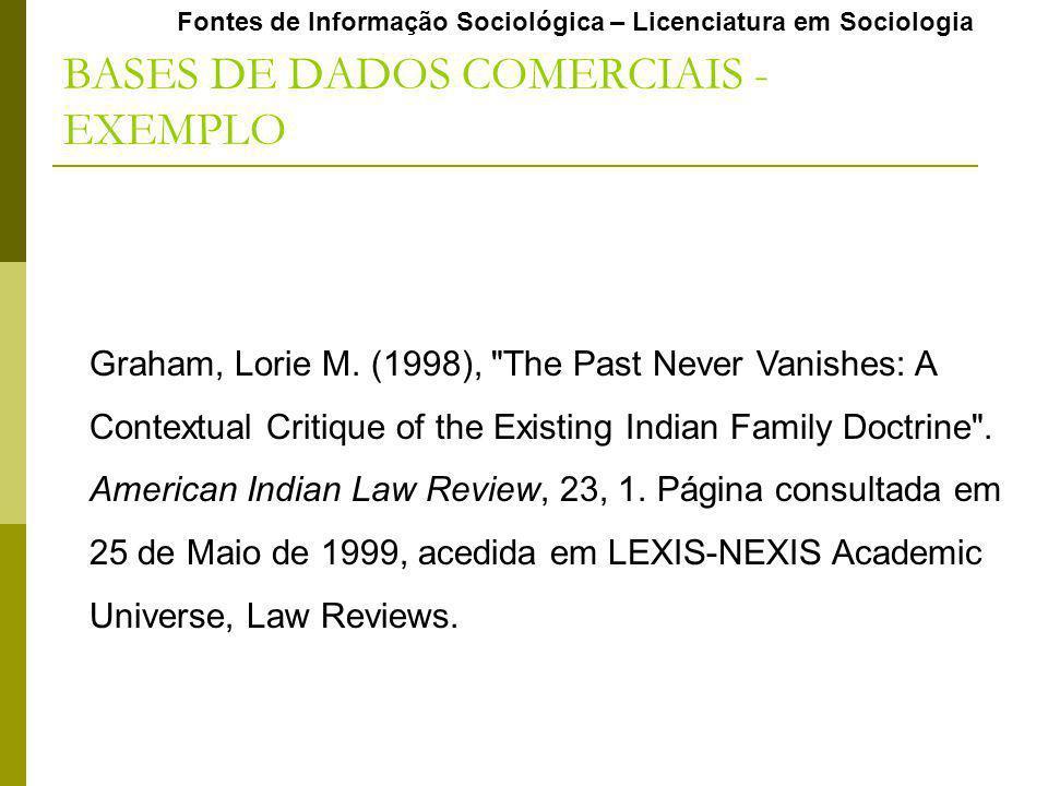 Fontes de Informação Sociológica – Licenciatura em Sociologia BASES DE DADOS COMERCIAIS - EXEMPLO Graham, Lorie M. (1998),