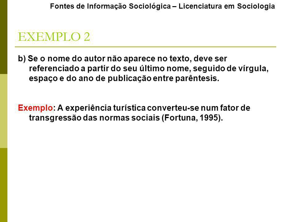 EXEMPLO 2 Fontes de Informação Sociológica – Licenciatura em Sociologia b) Se o nome do autor não aparece no texto, deve ser referenciado a partir do