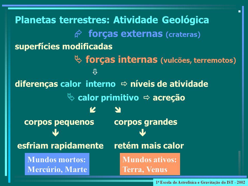 Planetas terrestres: Atividade Geológica forças externas (crateras) superfícies modificadas forças internas (vulcões, terremotos) diferenças calor int