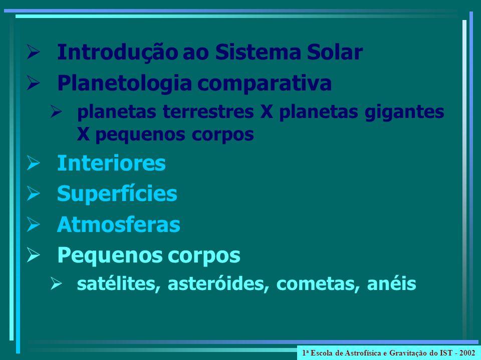 Introdução ao Sistema Solar Planetologia comparativa planetas terrestres X planetas gigantes X pequenos corpos Interiores Superfícies Atmosferas Pequenos corpos satélites, asteróides, cometas, anéis 1 a Escola de Astrofísica e Gravitação do IST - 2002