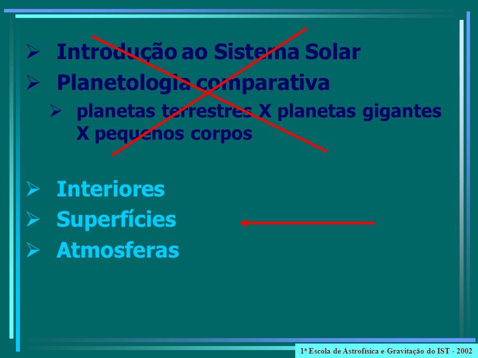 Introdução ao Sistema Solar Planetologia comparativa planetas terrestres X planetas gigantes X pequenos corpos Interiores Superfícies Atmosferas 1 a Escola de Astrofísica e Gravitação do IST - 2002